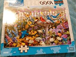 Mega Puzzles Extra Large 1000 Pc Puzzle Garden Birdbath  - N