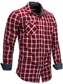 Neleus Men's Long Sleeve Button Down Plaid Shirts,151,Dark R