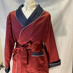 Mens Long Silk Satin Robe - Burgundy -Navy With White Piping