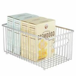 mDesign Metal Kitchen Pantry Food Storage Basket Bin, Extra