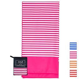 Microfiber Beach Towel for Travel - Oversized XL 70 x 35 Inc