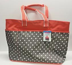 NEW - Polka Dot Jumbo XL Shopping Beach Tote Bag - Peach Gra
