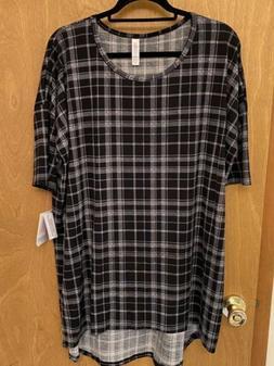 NWT LuLaRoe Irma Hi Lo Tunic Top Shirt Black White Plaid XL
