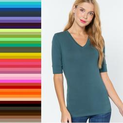 V Neck Elbow Length 3/4 T Shirt Top Active Basic Misses Plus