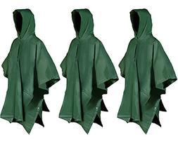 Juvale Adult Rain Poncho - 3-Pack PEVA Reusable Raincoats, E