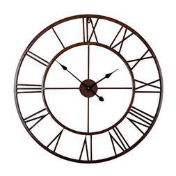 Utopia Alley Roman Round Clock, Distressed Finish, Metal, Oi