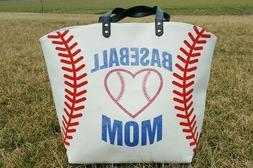 White Baseball Mom Canvas Tote Bag- Extra Large