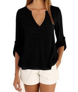 Women's Black Chiffon Roll Up Sleeve Button Blouse, Extra La