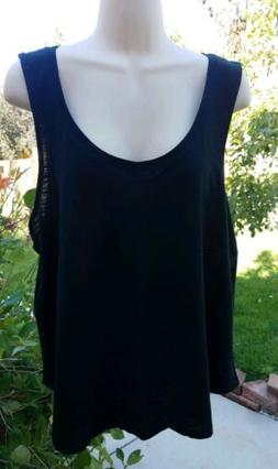 A New Day Women's Loose Tank Top Black XL Extra Large Scoop