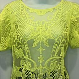 Womens Peach Bright Neon Yellow Lace Blouse Size Extra Large
