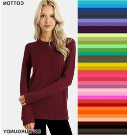 Womens T Shirt Crew Neck Long Sleeve Zenana Cotton Stretch T