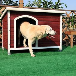 Petsfit 45.6 X 30.9 X 32.1 Inches Wooden Dog House, Dog Hous